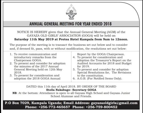 GOGA AGM May 2019
