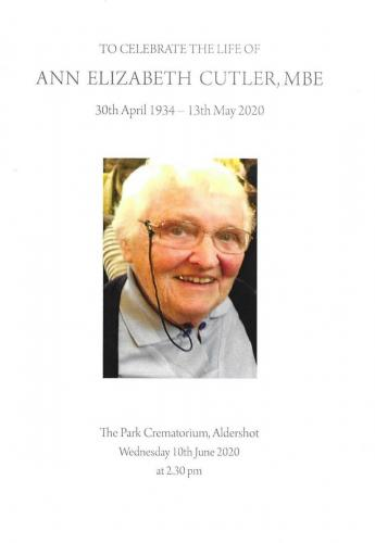 Ann Cutler's Funeral 10th June 2020