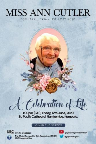 Celebrating life of Ann Cutler Service 12th June 2020