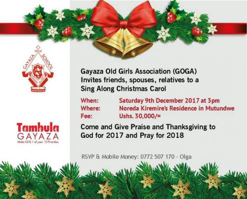 GOGA Christmas Carols - December  2017